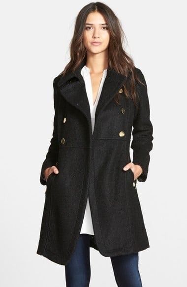 GUESS Double Breasted Bouclé Coat