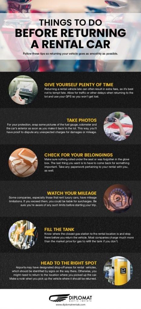 rental car return reminders